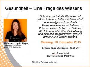 Ingrid Riegler - Gesundheit ist eine Frage des Wissens